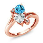 1.65 Ct Sky Blue Aquamarine Swiss Blue Topaz 18K Rose Gold Plated Silver Ring