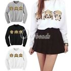 3D Three Monkey Pattern Print Long Sleeved Round O-Neck Sweater Hoodie Blouse