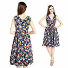 Womens Vintage 1950's Deep V Neck Floral Print Cocktail Party Wiggle Swing Dress
