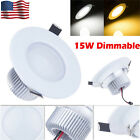 15W Round LED Recessed Ceiling Panel Downlight Spot Light Lamp Warm Cool White