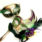 Mardi Gras Masquerade Parade Handle stick mask costume Birthday Carnival Party