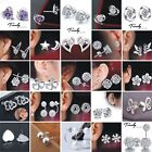Women's Girl's 925 Sterling Silver Plated Wedding Bridesmaid Ear Stud Earrings