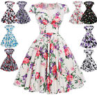 Women Floral 50s Pinup Hepburn Fashion Party Vintage Swing Dress New