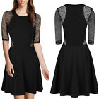 Ladies Girls Floral Lace Short Sleeves Flared A-line Cocktail Swing Skater Dress