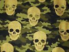 Skull Quilting Fabric Gold on Camo Timeless Treasures Fat Quarter, By the Yard