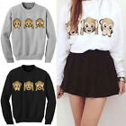 Women Long Sleeve 3D Emoji Print Pullover Outwear Jumper Loose Sweater Top Level