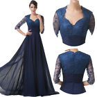 LONG Lace chiffon Mother Of The Bride Formal Evening Wedding Prom Gowns Dresses