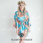Satin Floral Turquoise Blue Robe Dressing Gown Wedding Bridal Bride Bridesmaid