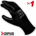 1 Pair Black High Quality Work Gloves Pu Coated  Builder Mechanic Constructio