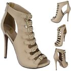 Peep Toe Strappy Caged Ankle Booties Stiletto High Heel Sandals Pumps Size H14