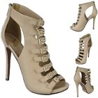 Open Toe Peep Toe ankle Caged Booties Stiletto High Heel Sandals Pumps Size H14