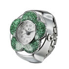 Women Girl Creative Flower Pattern Round Elastic Quartz Finger Ring Watch Wathes