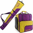Purple Yellow Ski Bag Combo for Ski Poles,  Boots and Helmet - Limited Edition -