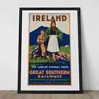 IRELAND TRAVEL POSTER Irish Travel Poster 1920's Ireland Poster Art Deco Wall Ar