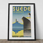 SWEDISH TRAVEL POSTER Cruise Line Ad - Sweden via England Travel Ad France Trave