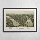 ANTIQUE PITTSBURGH MAP - Vintage Map of Pittsburg - Antique Map Print, Historica
