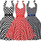 Plus Size XS S M L XL XXL XXXL Checkerboard 50s Retro Vintage Dress