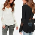 Women's Causal Slim Embroidery Lace Crochet T-Shirt Tops Blouse Long Sleeve NEW