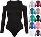 Womens Cut Out Shoulder Ladies Long Sleeve Stretch Leotard Bodysuit Plain Top