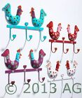 Hand Painted Metal Heart Chicken Triple Hook Wall Hooks Coat Rack Gift Home New
