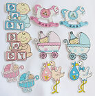 Blue & Pink Wooden Baby Craft Embellishment Packs Self Adhesive  5 055341 833058