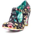 Irregular Choice Nicely Done Womens Textile Black Floral Heels