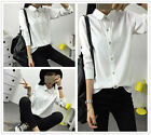 Fashion Women's Formal Plain Cotton Blend Long Sleeves T Shirts Tops Blouses
