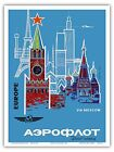 Europe Moscow Russia Aeroflot Vintage Airline Travel Art Poster Print