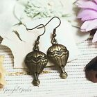 ER2630 Graceful Garden Vintage Style Bronze Tone Hot Air Balloon Charm Earrings