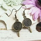 ER2503 Graceful Garden Vintage Style Bronze Tone Lollypop Lollipop Earrings