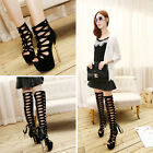 Womens Open Toe Cut Out Gladiator Stiletto Heels Sandals Knee High Boots Shoes
