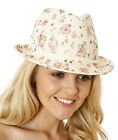 The Hat Company Ladies Straw Summer Floral Trilby Hat LS16013