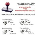 PERSONALISED CUSTOM HANDMADE BY 11637 RUBBER STAMP  CARD MAKING CRAFTS HOBBY ETC