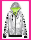 Victoria's Secret PINK Fashion Show 2014 Silver Jacket Hoodie Bling Neon Green