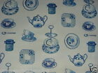 SMD AFTERNOON TEA WEDGEWOOD MATT FINISH 100% COTTON PVC OILCLOTH TABLECLOTH