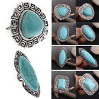 Fashion Women's Silver Plated Jewelry Turquoise Crystal Ring Wedding Engagement