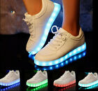 MEN WOMEN LOW TOP SPORTS USB CHARGING LED LIGHT SHOES LACE UP FASHION SNEAKER
