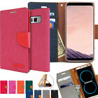 Canvas Flip Kickstand Slim leather wallet Case Cover for iPhone Galaxy S8 /LG G6