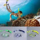 Swimming Scuba Semi-dry Snorkel Breath Tube + Diving Mask Glass Lens Set QT