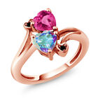 1.93 Ct Oval Mystic Topaz and Pink Mystic Topaz 18K Rose Gold Plated Silver Ring