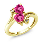 1.78 Ct  Pink Mystic Topaz & Created Sapphire 18K Yellow Gold Plated Silver Ring