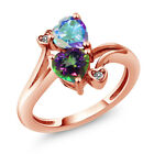 1.93 Ct Green Mystic Topaz and Mystic Topaz 18K Rose Gold Plated Silver Ring