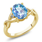 1.86 Ct Mystic Quartz White Diamond 18K Yellow Gold Plated Silver Ring
