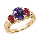 2.96 Ct Oval Purple Amethyst African Red Ruby 14K Yellow Gold 3-Stone Ring