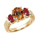 3.60 Ct Oval Ecstasy Mystic Topaz African Red Ruby 14K Yellow Gold 3-Stone Ring