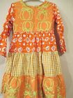 Young Colors Girls Size 5 & 6X Dress Empire Tiered Orange Check & Pumpkin 3/4 Sl
