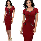 Vintage Women Short Sleeve Formal Career Cocktail Party Button Slim Pencil Dress