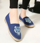 Womens Girls Tiger Face Round Toe Ballet Flat Canvas Loafers Comfort Boat Shoes