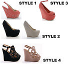 LADIES WOMENS ANKLE WEDGES HEEL EVENING CASUAL WEAR SHOES SIZE 3 4 5 6 7 8