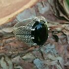 Sterling  Silver Eagle claw setting mens ring with Onyx stone -Nur Silver 925